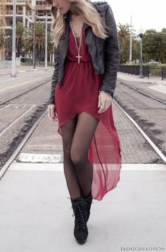 high low dress + tights + jacket + long necklace + boots