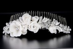 Tiara Comb with Chiffon Matte Satin Flowers and Crystal Beads | Cassandra Lynne