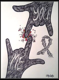 Original Love Artwork Me and You by AshMarieSha on Etsy Sign Language Art, American Sign Language, I Love You Pictures, Pictures To Draw, Deaf Sign, Deaf Art, Libra Art, Alphabet Signs, America Sign