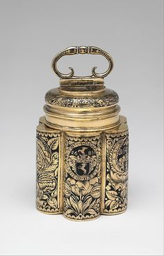 1681 Hungarian Spice canister at the Metropolitan Museum of Art, New York - Since spices were imported luxury goods, to be able to have a good supply of them was a sign of wealth and status - and more than worth showing off in a canister like this silver gilt and enamel example.