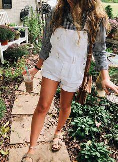 gingham button down + white short overalls + birkenstocks