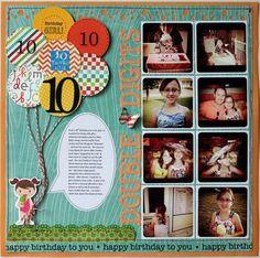 scrapbook layout ideas for birthday Birthday Scrapbook Layouts, Kids Scrapbook, Scrapbook Sketches, Scrapbook Page Layouts, Scrapbook Paper Crafts, Scrapbook Cards, Scrapbook Photos, Recipe Scrapbook, Photo Layouts