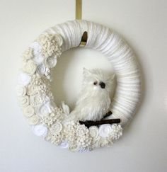 White Owl Wreath Icy Owl Wreath Winter Wreath by TheBakersDaughter, $51.00