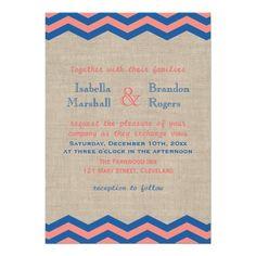 Navy & Coral Nautical Wedding Invitation