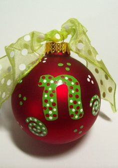 Hand Painted Glass Christmas Ornament/Personalized/Dated/Special Message. $12.00, via Etsy.
