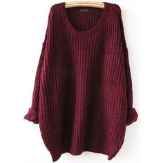 SheIn(sheinside) Red Batwing Long Sleeve Loose Knit Sweater (20800 IQD) ❤ liked on Polyvore featuring tops, sweaters, outerwear, shein, sheinside, red, red knit sweater, red poncho, long sleeve sweaters and knit poncho sweater