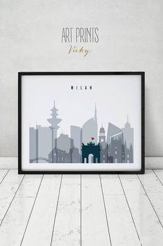 Milano art print Poster wall art Italy Milan skyline City