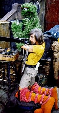 Caroll Spinney filming Oscar and Big Bird