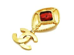 Authentic vintage Chanel pin brooch red stone rhombus CC logo dangle