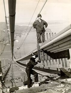 Two construction workers on the Golden Gate Bridge, San Francisco, 1936 by San Francisco Public Library Historical Photos, via Flickr