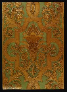 Wallpaper | M. H. Birge & Sons Co. | V&A Search the Collections; papierowa imitacja kurd.