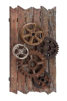 EC World Imports Urban Handcrafted Movie Reels And Gears Wood Art Wall Decor