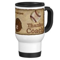 """Rustic Antique Thanks Baseball Coach Gifts Mugs.  Old worn out glove and baseball with wooden look """"Thanks Coach"""".  You can choose to personalize it by changing """"Awesome"""" to your coach's NAME in the template text box below """"Personalize it"""" on the product page.  Click the image or click these links to see lots more baseball stuff: http://yoursportsgifts.com/CLICK-HERE-Vintage-Baseball-Gifts   More Baseball Stuff:  http://yoursportsgifts.com/CLICK-HERE-Personalized-Baseball-Stuff"""