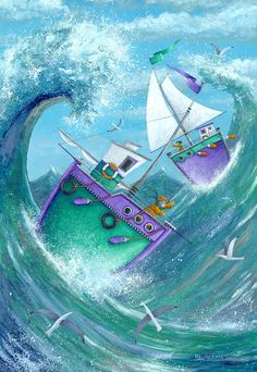 Stormy Weather by Peter Adderley - Stormy Weather Fine Art Prints and Posters for Sale Art Fantaisiste, Sea Art, Naive Art, Beach Scenes, Whimsical Art, Lovers Art, Art For Kids, Folk Art, Art Drawings