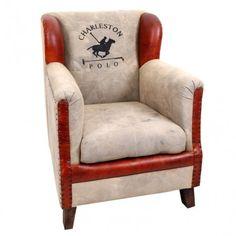 Sillón estilo industrial modelo Charleston, tapizado en piel y textil:      Ancho: 75 cm     Largo: 96 cm     Alto: 77 cm     Color: Marrón y Beige