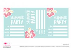 Free Summer Party Printables - Invitations   CatchMyParty.com Free Summer, Silhouette Cameo Projects, Summer Parties, Free Blog, Luau, Party Printables, Rsvp, Birthday Parties, Things To Do