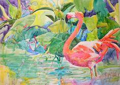 Flamingo Art | ... paper of a single lovely flamingo surveying his tropical paradise