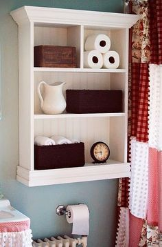 From First Lady of the House: beadboard backing storage shelf. Love the shelf and the patchwork curtain to the right :) Basement 1/2 bath idea: