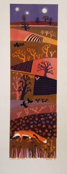 Winter Fox  Linocut by Carry Akroyd