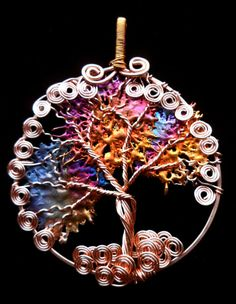 Interesting background... Copper Tree of Life with Copper Splash Leaves Ornament