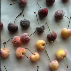 tip from a food stylist for sugaring fruit: dip fruit in egg whites and then roll on a plate of sugar to coat.