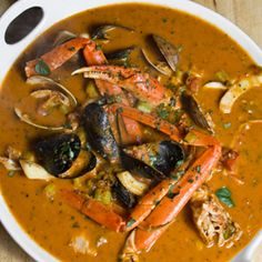 Cioppino with calamari, crab, snapper, clams, and mussels.