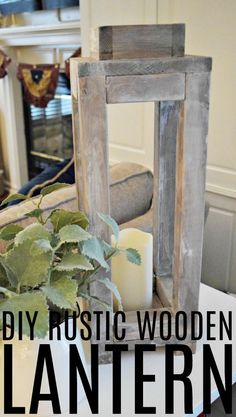 Create this simple and inexpensive rustic wooden lantern that is perfect for a fun indoor or covered outdoor home decor piece. @Folgers @Walmart