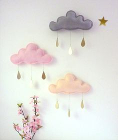 1 pink Rain Cloud Mobile Nursery Children Decor by leptitpapillon