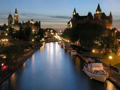 """""""A historic waterway filled with boaters spring through fall, the Rideau Canal winds through the heart of Ottawa before connecting with the Ottawa River through dramatic stepped locks right next to Parliament Hill. Ottawa Canada, Ottawa Ontario, O Canada, Ottawa Tourism, Fogo Island Inn, Affordable Family Vacations, Ontario Place, Waterton Lakes National Park, Erie Canal"""