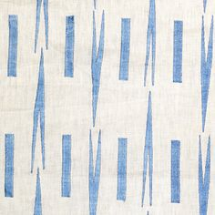Mino Embroidered Linen-Detail  Detail of Ivory Linen with Embroidered Pattern in Blue.