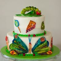 The Very Hungry Caterpillar Cake.Sura's First Birthday Cake! Just Cakes, Cakes And More, Beautiful Cakes, Amazing Cakes, Hungry Caterpillar Cake, First Birthday Cakes, Birthday Fun, Birthday Ideas, Cupcake Cakes