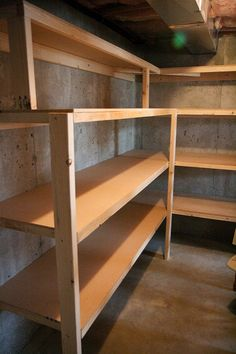 Beautiful Shelving for Basement