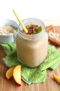 Protein Peach Cobbler Smoothie - This creamy, thick vegan smoothie tastes just like pie in a cup. Its high in protein and full of fresh peach flavor.