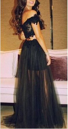 Black Lace Prom Dresses,Two Pieces Prom Dress,Drop Sleeves Evening Prom Dresses,