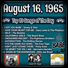 60s Music, Music Hits, Hit Songs, Music Songs, Music Lyrics, Music Stuff, Sweet Memories, Childhood Memories, Top Ten Songs