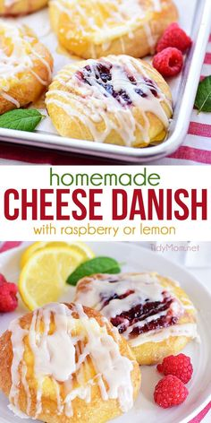 This Cream Cheese Danish recipe is made with a tender, sweet yeast bread, a sweet cream cheese center with a dollop of lemon curd or raspberry preserves plus a generous drizzle of a powdered sugar… Homemade Cheese Danish Recipe, Danish Recipe Easy, Lemon Danish Recipe, Recipe For Homemade Yeast Rolls, Danish Bread Recipe, Raspberry Danish Recipe, Recipe For Danish Pastry, Danish Recipes, Lemon Recipes