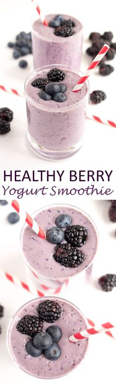 A super simple 5 ingredient Healthy Berry Yogurt Smoothie. Protein packed to keep you full throughout the day. A perfect on the go breakfast!   chefsavvy.com #recipe #breakfast #smoothie #fruit