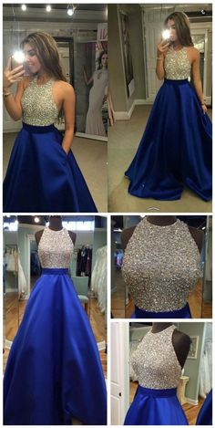 A-Line Halter Backless Floor-Length Royal Blue Satin Prom Dresses with Beading Prom Dresses Long, Prom Dress, Prom Dresses Blue, Prom Dresses A-Line, Prom Dresses Backless Prom Dresses 2019 Sparkly Prom Dresses, Royal Blue Prom Dresses, Prom Dresses 2017, Beaded Prom Dress, Backless Prom Dresses, A Line Prom Dresses, Dance Dresses, Pretty Dresses, Sexy Dresses
