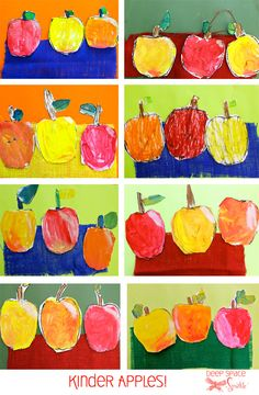 Apple painting art project with oil and chalk pastel, tempera paint, fabric background