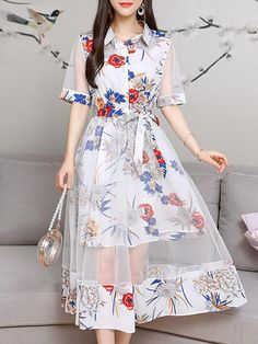 Cheap best Lace Layers Turn-down Collar Dresses for Women on Newchic, there is always a plus size casual dresse suits you! Stylish Dresses For Girls, Simple Dresses, Pretty Outfits, Pretty Dresses, Girls Fashion Clothes, Fashion Outfits, Dress Fashion, Designs For Dresses, Classy Dress