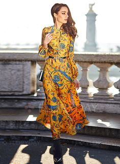 849c24ab143 Dresses -  108.20 - Polyester Floral Long Sleeve Maxi Vintage Dresses  (1955100843) Yellow Long