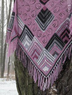 "Knit shawl ""Rhodonite"" (knitted shawl, entrelac, modular shapes, granny squares, knitting patchwork)"