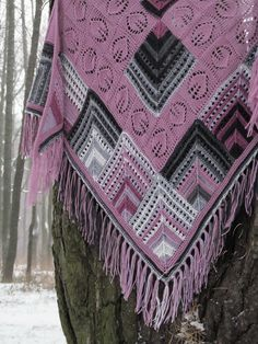 "Knit shawl ""Rhodonite"" (knitted shawl, entrelac, modular shapes, granny squares, knitting patchwork)"