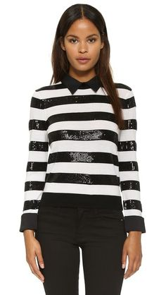 alice + olivia Marlee Sequin Stripe Sweater