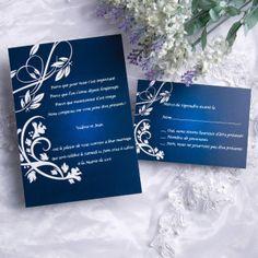 Joyeuxmariage faire part mariage bleu nuit avec des fleurs blanches JM503
