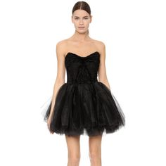 Loyd/Ford Tulle Mini Dress ($1,735) ❤ liked on Polyvore featuring dresses, black, short strapless cocktail dress, retro dress, fringe mini dress, embroidered dress and strapless dress