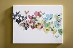 Scrapbook paper hearts on canvas, with buttons and brads - change hearts to an ocean theme. bubbles and fish/ starfish and seashells/ coral and waves/ use white cardboard instead of canvas Heart Canvas, Heart Art, Canvas Art, Heart Collage, Canvas Ideas, Wall Collage, Wall Canvas, Diy And Crafts, Arts And Crafts