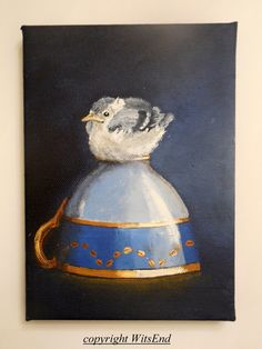 'LITTLE NUTHATCH BLUE ON BLUE'. baby Bird Teacup painting original still life by 4WitsEnd, via Etsy