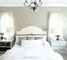 I'm definitely doing a trellis print on the wall behind our bed.