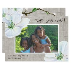 Rustic Floral Happy New Year Photo Card - New Year's Eve happy new year designs party celebration Saint Sylvester's Day